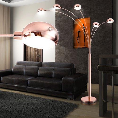 Lámpara de pie moderna de metal cobre