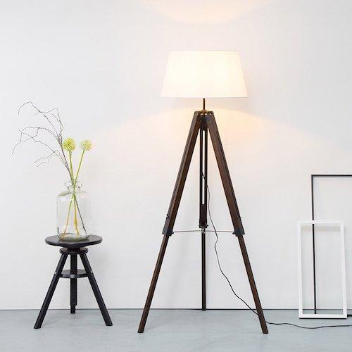 Lámpara de pie rústica trípode de madera maciza